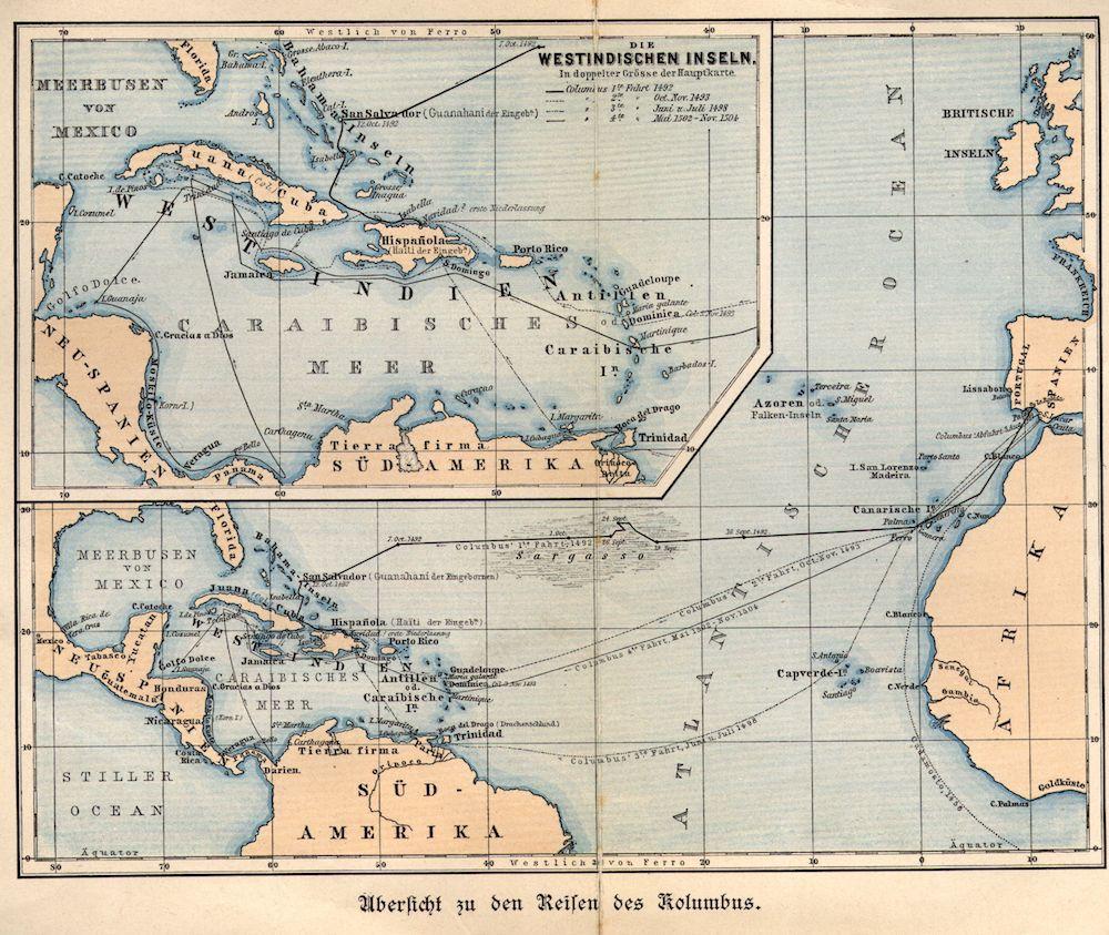 Una carta tedesca che riporta l'itinerario della spedizione di Colombo verso le Americhe. In dettaglio gli attracchi nel mar dei Caraibi, 1901 circa..  (Immagine da: Hulton Archive/Getty Images).