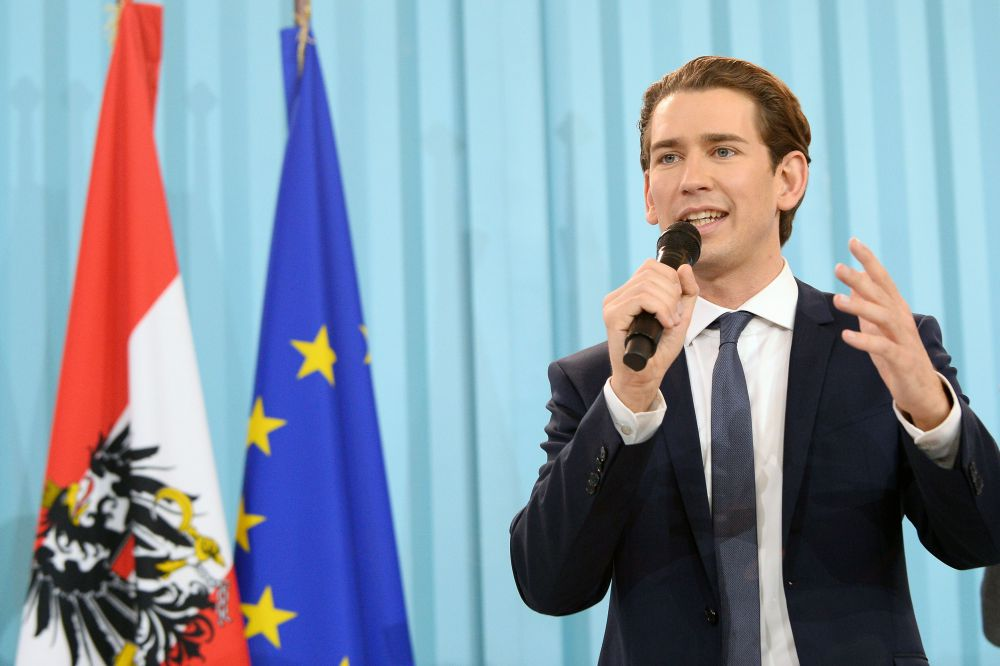 """VIENNA, AUSTRIA - OCTOBER 15:  Sebastian Kurz, Austrian Foreign Minister and leader of the conservative Austrian People's Party (OeVP) speaks at the party's election event after initial results came in that give the party a first place finish and 31,6% of the vote in Austrian parliamentary elections on October 15, 2017 in Vienna, Austria. The OevP will seek a coalition partner to create a new government, though its current partner, the Austrian Social Democrats (SPOe) of Chancellor Christian Kern, have indicated they will not seek to be in a coalition again with the OeVP following the election. This opens the door for the right-wing Austria Freedom Party (FPOe), which has run on a """"fairness for Austrians"""" campaign with anti-immigrants, anti-refugees and anti-Islam tones, to be a possible coalition member.  (Photo by Thomas Kronsteiner/Getty Images)"""