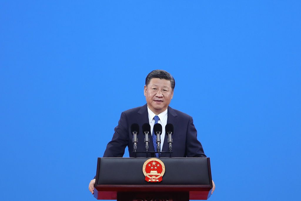 BEIJING, CHINA - SEPTEMBER 26:  Chinese President Xi Jinping speaks during the 86th INTERPOL General Assembly at Beijing National Convention Center on September 26, 2017 in Beijing, China. The General Assembly, themed 'Connecting Police for a Safer World',  will take place in Beijing from September 26-29. (Photo by Lintao Zhang - Pool/Getty Images)