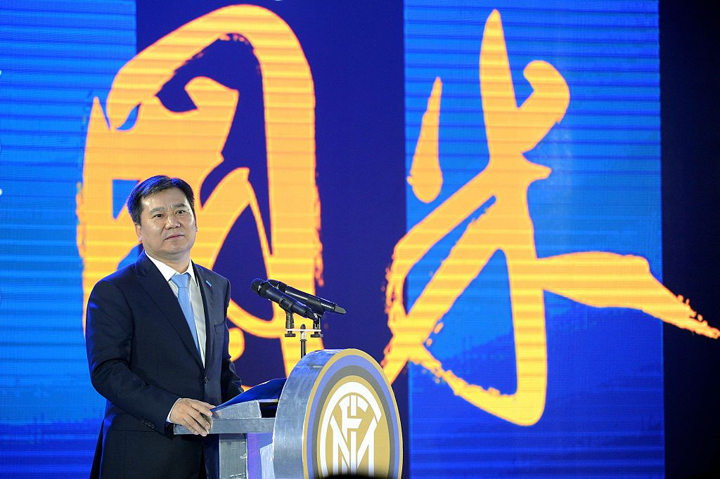 Zhang Jindong, chairman of the Suning Holdings Group delivers a speech during a press conference for Suning's Acquisition of Inter Milan in Nanjing, east China's Jiangsu province on June 6, 2016.   A Chinese billionaire with connections to President Xi Jinping announced a swoop for a majority stake in Italy's Inter Milan on June 6, the most prestigious football club acquired so far by Chinese investors. Zhang Jindong's Suning retail giant will pay 306 million USD for about 70 percent of the three-time European champions, a landmark move for one of the sport's most famous clubs. / AFP / STR        (Photo credit should read STR/AFP/Getty Images)