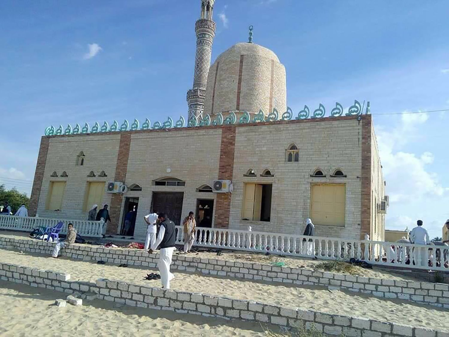 View of the Rawda mosque, roughly 40 kilometres west of the North Sinai capital of El-Arish, after a gun and bombing attack, on November 24, 2017. A bomb explosion ripped through the mosque before gunmen opened fire on the worshippers gathered for weekly Friday prayers, officials said.  / AFP PHOTO / STRINGER        (Photo credit should read STRINGER/AFP/Getty Images)
