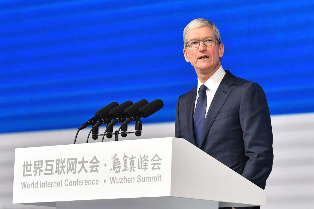 Apple CEO Tim Cook speaks during the opening ceremony of the 4th World Internet Conference in Wuzhen in China's eastern Zhejiang province on December 3, 2017.  The conference is held in Wuzhen from December 3 to 5. / AFP PHOTO / - / China OUT        (Photo credit should read -/AFP/Getty Images)