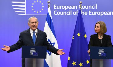 Israel's Prime Minister Benjamin Netanyahu and EU foreign policy chief, Federica Mogherini speak during a joint press conference at the European Council in Brussels on December 11, 2017.  Israeli Prime Minister Benjamin Netanyahu is ?holding talks on December 11 with EU foreign ministers, days after the US decision to recognise Jerusalem as Israel's capital, a move the premier had long sought but which has been met by widespread condemnation. / AFP PHOTO / EMMANUEL DUNAND        (Photo credit should read EMMANUEL DUNAND/AFP/Getty Images)