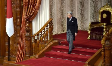 Japanese Emperor Akihito leaves after his speech during the opening ceremony of a 150-day ordinary Diet session in Tokyo on January 20, 2017.  Japan's parliament usually opens in January each year, with this being the 193rd session of the national legislature. / AFP / KAZUHIRO NOGI        (Photo credit should read KAZUHIRO NOGI/AFP/Getty Images)