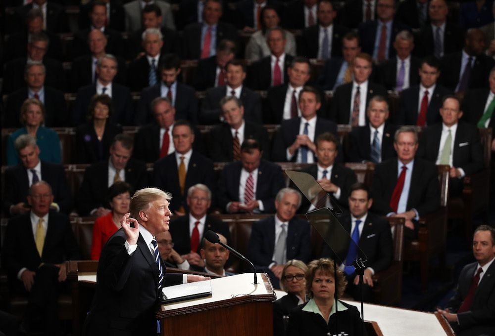 WASHINGTON, DC - FEBRUARY 28:  U.S. President Donald Trump addresses a joint session of the U.S. Congress on February 28, 2017 in the House chamber of  the U.S. Capitol in Washington, DC. Trump's first address to Congress focused on national security, tax and regulatory reform, the economy, and healthcare.  (Photo by Win McNamee/Getty Images)
