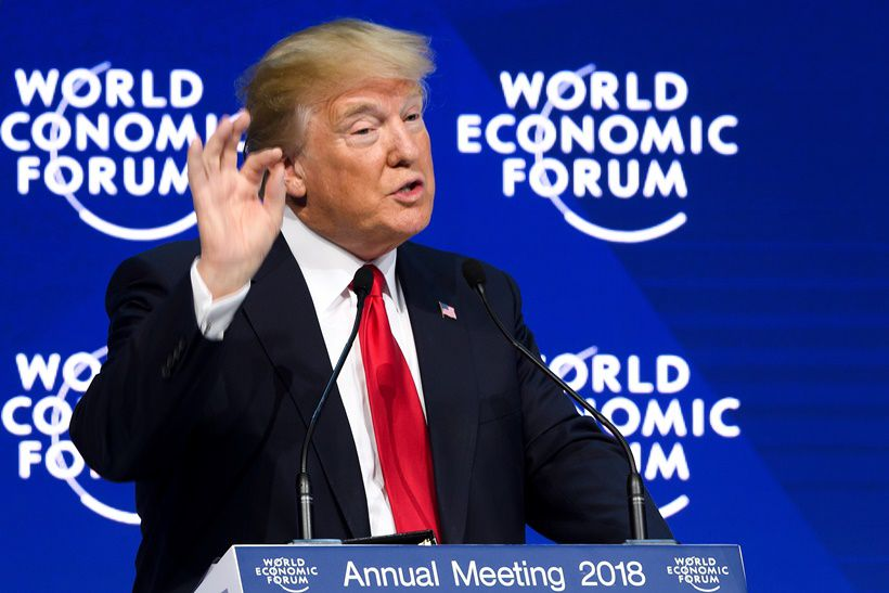 US President Donald Trump delivers a speech during the World Economic Forum (WEF) annual meeting on January 26, 2018 in Davos, eastern Switzerland.  / AFP PHOTO / Fabrice COFFRINI        (Photo credit should read FABRICE COFFRINI/AFP/Getty Images)