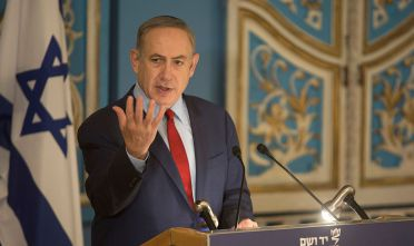 JERUSALEM, ISRAEL - JANUARY 26:  (ISRAEL OUT) Israel's Prime Minister Benjamin Netanyahu speaks to members of the diplomatic corps in Israel in the Yad Vashem Synagogue   on January 26, 2017 in Jerusalem, Israel. Thousands of people will come together today to remember and honour the millions killed in the Holocaust and mark the 71th anniversary of the liberation of Auschwitz by Soviet troops on 27th January, 1945. Auschwitz was among the most notorious of the concentration camps run by the Nazis during WWII and whilst it is impossible to put an exact figure on the death toll it is alleged that over a million people lost their lives in the camp, the majority of whom were Jewish.  (Photo by Lior Mizrahi/Getty Images)