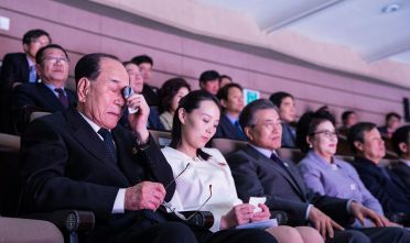 SEOUL, SOUTH KOREA - FEBRUARY 11:  In this handout image provided by the South Korean Presidential Blue House, North Korea's nominal head of state Kim Yong-Nam (L) weeps while watching a performance of North Korea's Samjiyon Orchestra with Kim Yo-Jong, North Korean leader Kim Jong-Un's sister and South Koran President Moon Jae-In (3rd R) at National Theater on February 11, 2018 in Seoul, South Korea.  (Photo by South Korean Presidential Blue House via Getty Images)