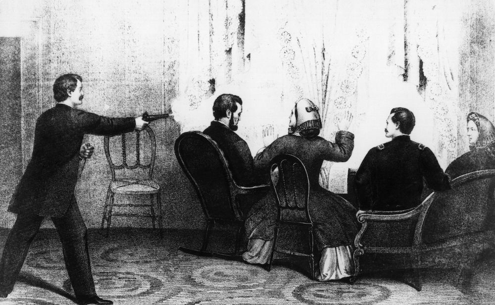 Raffigurazione dell'assassinio del presidente Usa Abraham Lincoln (Immagine: Hulton Archive/Getty Images).