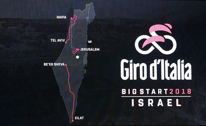 A screen showing the first three stages of next year's Giro d'Italia which will be host in Jerusalem and Israel is seen during a press conference in Jerusalem on September 18, 2017, to give details of the opening stages of the tour.  / AFP PHOTO / THOMAS COEX        (Photo credit should read THOMAS COEX/AFP/Getty Images)