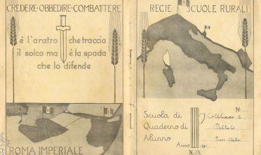 Copertina di quaderno di scuola del periodo fascista.