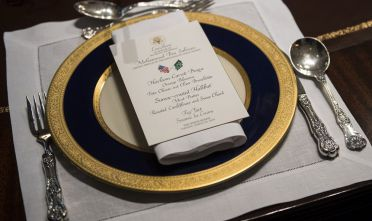 WASHINGTON, DC - MARCH 20:  A lunch menu is seen as President Donald Trump holds a working lunch with Crown Prince Mohammed bin Salman of the Kingdom of Saudi Arabia in the Oval Office at the White House on March 20, 2018 in Washington, D.C. (Photo by Kevin Dietsch-Pool/Getty Images)