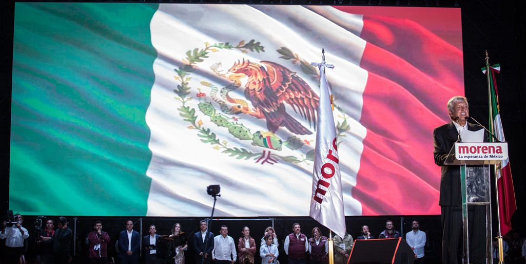 MEXICO CITY, MEXICO - JUNE 27: Presidential candidate Andres Manuel Lopez Obrador speaks at the final event of the 2018 Presidential Campaign at Azteca Stadium on June 27, 2018 in Mexico City, Mexico. (Photo by Pedro Mera/Getty Images)