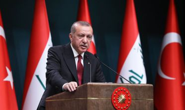 Turkish President Recep Tayyip Erdogan speaks during a joint press conference with the Iraqi prime minister following their meeting at the Presidential Complex in Ankara on August 14, 2018. (Photo by ADEM ALTAN / AFP)        (Photo credit should read ADEM ALTAN/AFP/Getty Images)