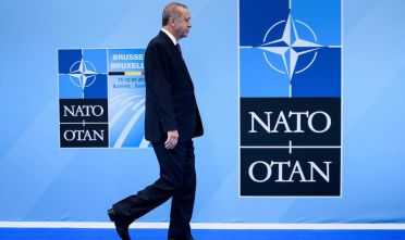 Recep Tayyip Erdogan al summit Nato a Bruxelles del luglio 2018. (Photo by Brendan Smialowski / AFP)        (Photo credit should read BRENDAN SMIALOWSKI/AFP/Getty Images)