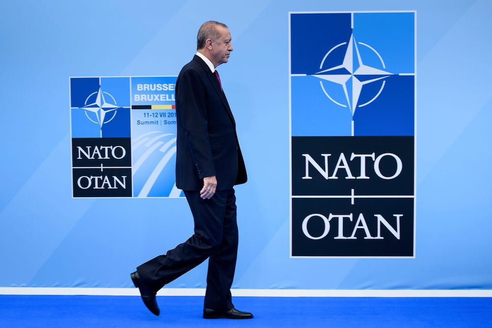 Recep Tayyip Erdogan al summit Nato a Bruxelles del luglio 2018. (Photo by Brendan Smialowski / AFP)        (Photo credit should read BRENDAN SMIALOWSKI/AFP/Getty Images)