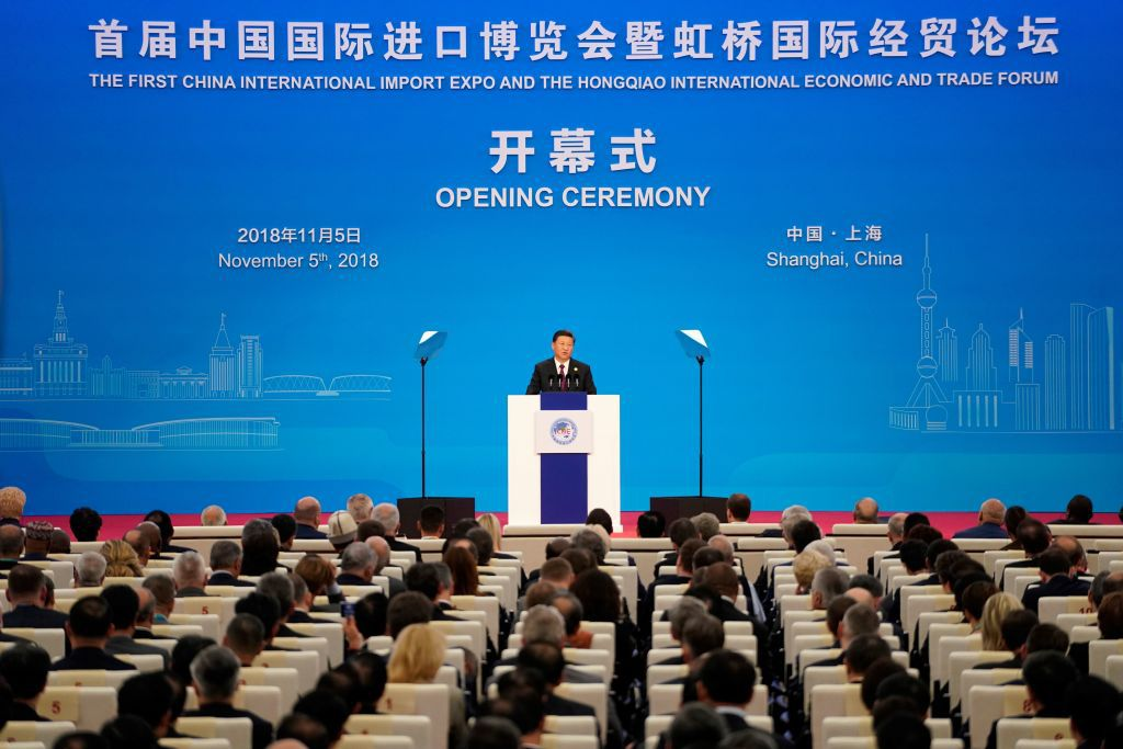 China's President Xi Jinping speaks at the opening ceremony of the first China International Import Expo (CIIE) in Shanghai on November 5, 2018. (Photo by ALY SONG / POOL / AFP)        (Photo credit should read ALY SONG/AFP/Getty Images)