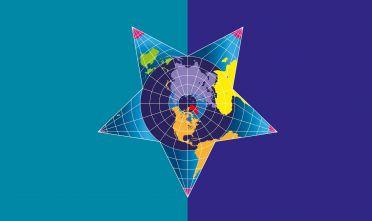 """Dettaglio della copertina di Limes 1/19 """"La febbre dell'Artico"""". Copertina di Laura Canali"""