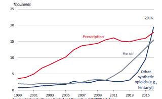 Figura 2 – Andamento dei decessi dovuti agli oppioidi (farmaci prescritti, eroina e altri oppioidi sintetici)