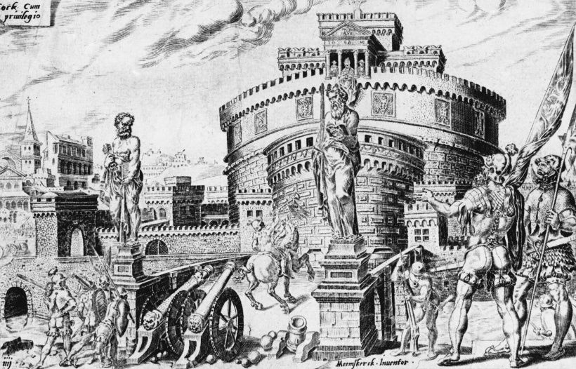 The siege of the Castel San Angelo in Rome by the forces of Emperor Charles V of Spain, 1527. In the struggle between Charles and Francis I of France for control of Italy, Pope Clement VII sided with Francis. Charles responded with an attack and sacking of Rome and the Vatican (left). Pope Clement was forced to seek refuge in the Castel San Angelo, where he was besieged for a month before his surrender. (Photo by Hulton Archive/Getty Images)