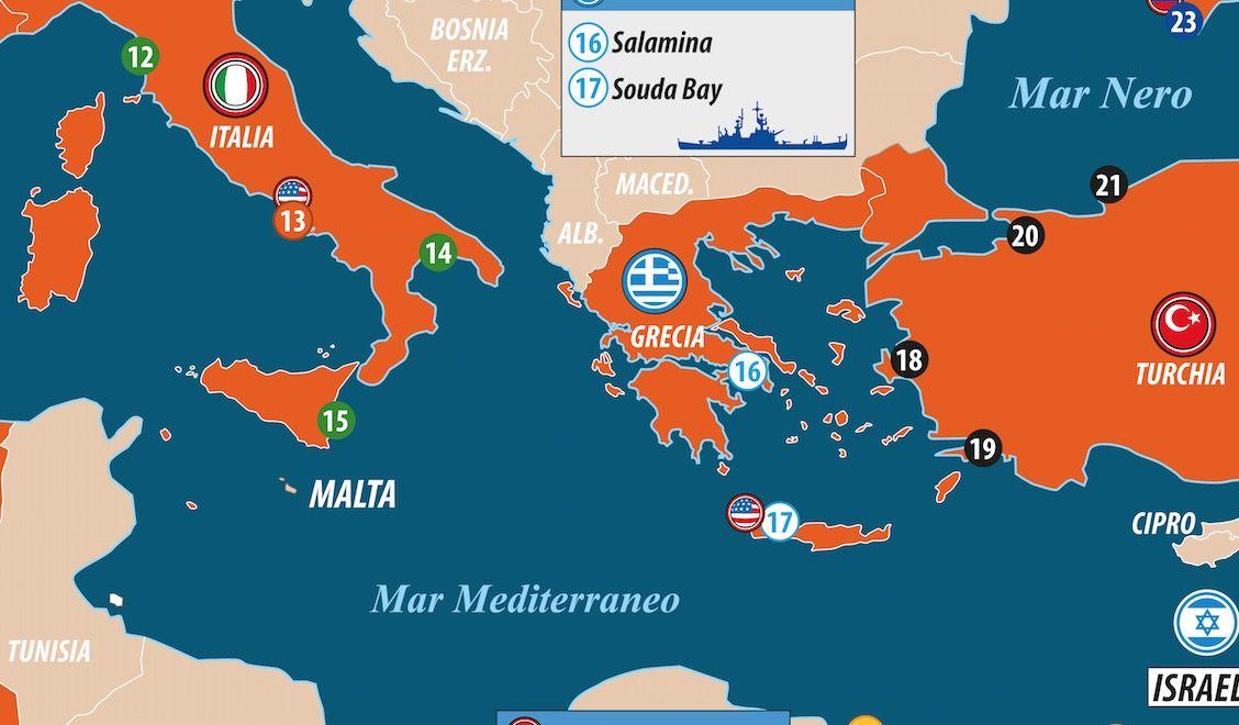 Dettaglio basi navali Mediterraneo