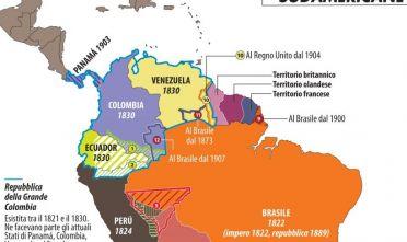 indipendenze_sudamericane_dettaglio_venezuela_colombia_ecuador_brasile_guyana