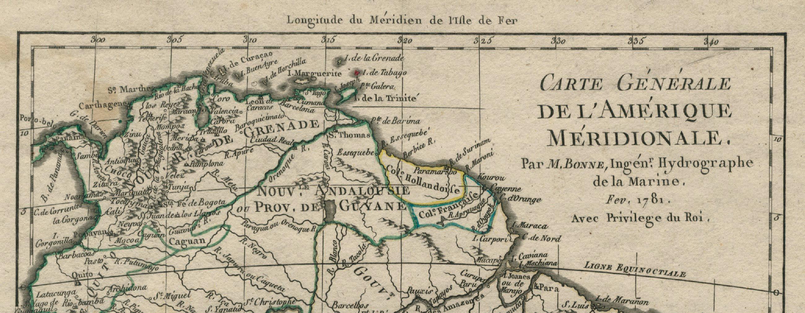 Fonte 2: particolare da M. Bonne, Carte Générale de l'Amérique Méridionale, Paris 1781.