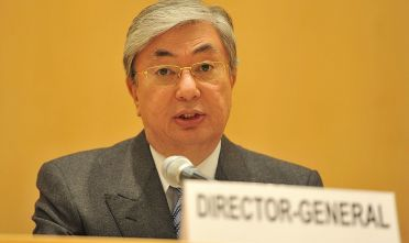 GENEVA, SWITZERLAND - JANUARY 31:  Kassym-Jomart Tokayev, Director-General of the United Nations Office at Geneva, delivers a speech at the United Nations of Geneva General Assembly Hall during a ceremony marking the International Day of Commemoration in Memory of the Victims of the Holocaust on January 31, 2012 in Geneva, Switzerland. The event, organized by the United Nations in Geneva in partnership with the Permanent Missions of Israel, Poland and Switzerland to the United Nations Office at Geneva with the support of the Carl Lutz Foundation, follows the annual International Day of Commemoration to honour the victims of the Holocaust which was held on the January 27.  (Photo by Harold Cunningham/Getty Images)