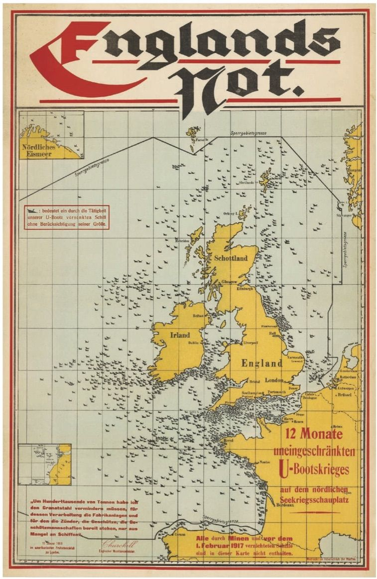 Fonte: Englands Not. 12 Monate uneingeschränkten U-Bootskrieges auf dem Nördlichen Seekriegsschauplatz (L'angoscia inglese. 12 mesi di guerra sottomarina senza limiti sul teatro della guerra navale), Stato Maggiore della Marina tedesca, 1917.