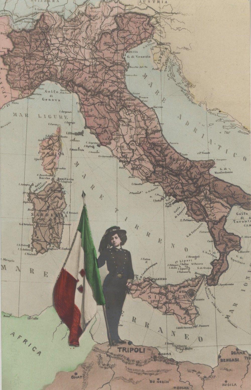 Due fotomontaggi con sovrapposizione di fotografia su sfondo cartografico, cartoline, 1911