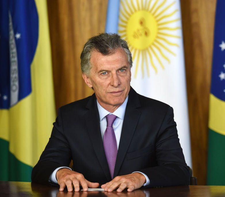 Argentina's President Mauricio Macri is pictured during the signing of an agreement with Brazilian President Jair Bolsonaro (out of frame) at Planalto Palace in Brasilia, on January 16, 2019. - Macri is on a one-day official visit to Brazil to address the future of Mercosur and the crisis in Venezuela. (Photo by EVARISTO SA / AFP)        (Photo credit should read EVARISTO SA/AFP/Getty Images)