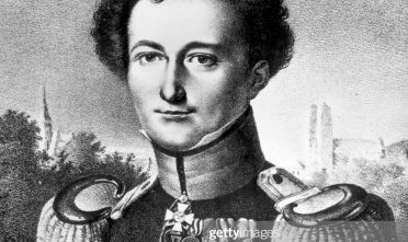 circa 1800:  Prussian general, Carl Von Clausewitz (1780 - 1831). Noted for his book, 'Vom Kriege (On War)', which advocated the total destruction of an enemy's forces as one of the strategic targets of warfare, and to see war as an extension of political policy and not as an end in itself.  (Photo by Hulton Archive/Getty Images)
