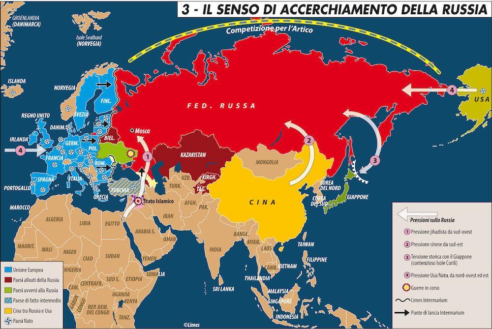 La Cartina Della Russia.Carta Il Senso Di Accerchiamento Della Russia Limes