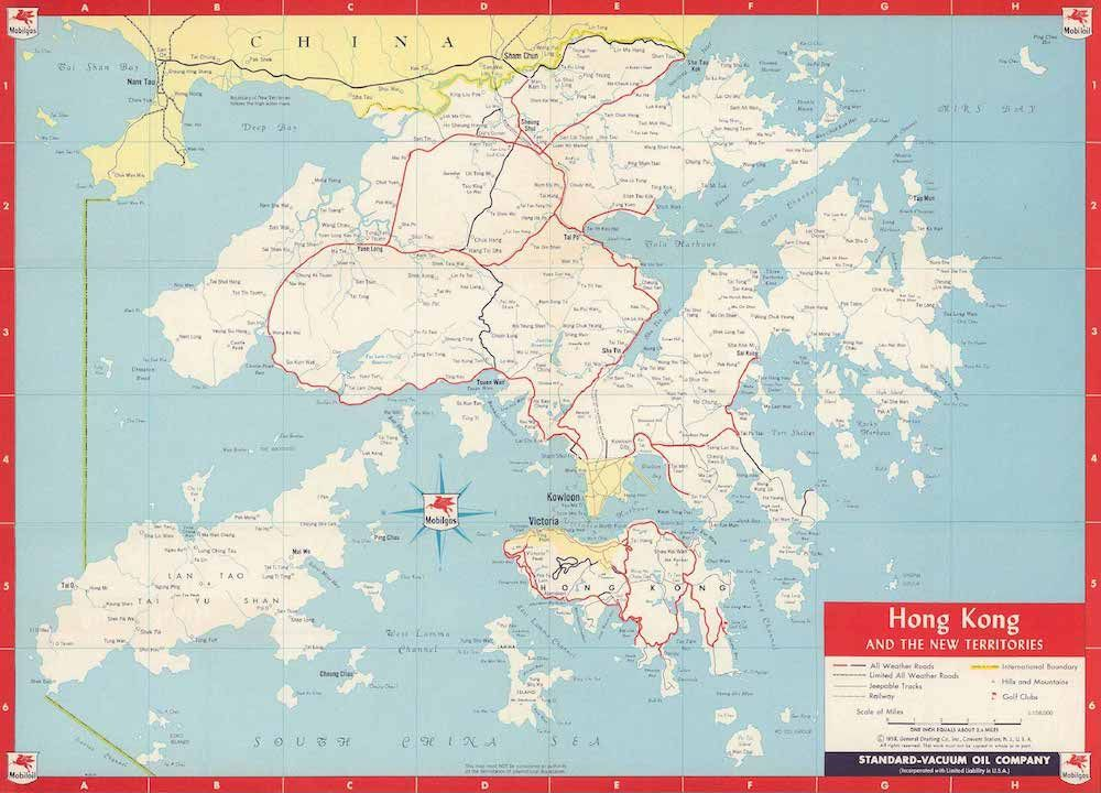 Hong Kong and the New Territories, Standard-Vacuum Oil Company, 1958 (David Rumsey Collection)
