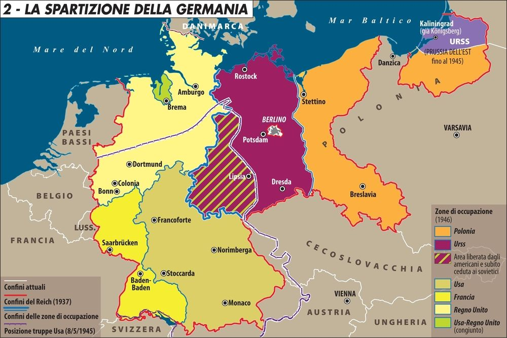 Cartina Germania Ovest.Carta La Spartizione Della Germania Limes