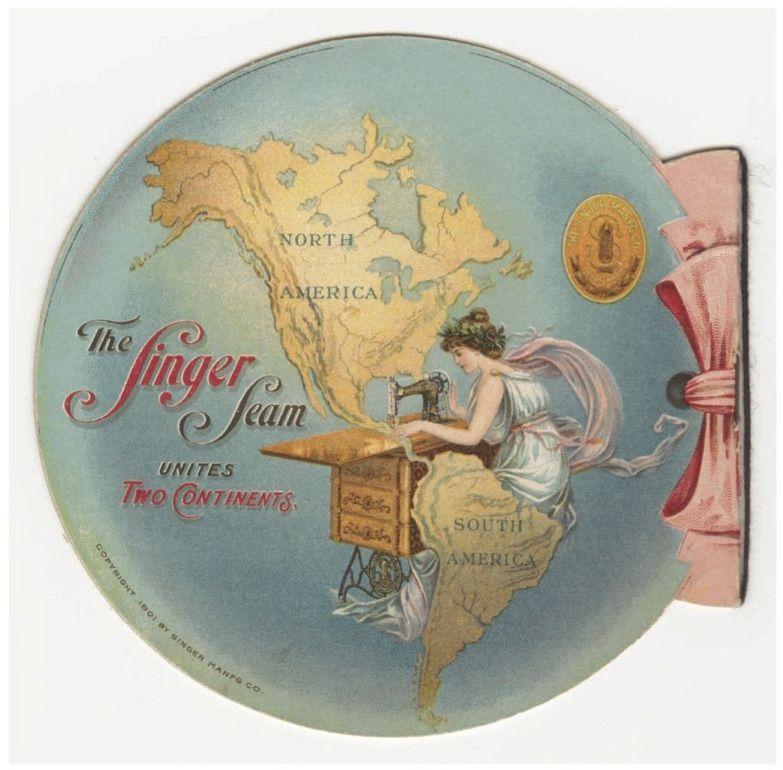 Fonte 2: The Singer Seam Unites Two Continents, brochure pubblicitaria di una macchina da cucire per l'Esposizione Pan-Americana del 1901, Singer Manfg Co., 1901 (Cornell University Library).