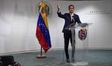 Venezuelan opposition leader and self-proclaimed acting president Juan Guaido speaks during a press conference in Caracas, on October 17, 2019. - Venezuela won a seat on the UN Human Rights Council Thursday, sparking outcry from the United States, advocacy groups and Latin American countries who say its rights record is appalling. (Photo by Federico PARRA / AFP) (Photo by FEDERICO PARRA/AFP via Getty Images)