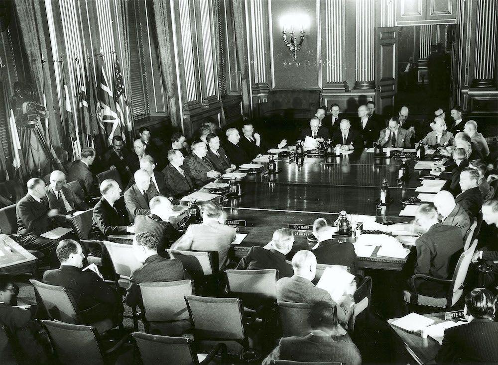 Prima sessione della Nato a Bruxelles, 17 settembre 1949 (Photo By Nato/Getty Images).