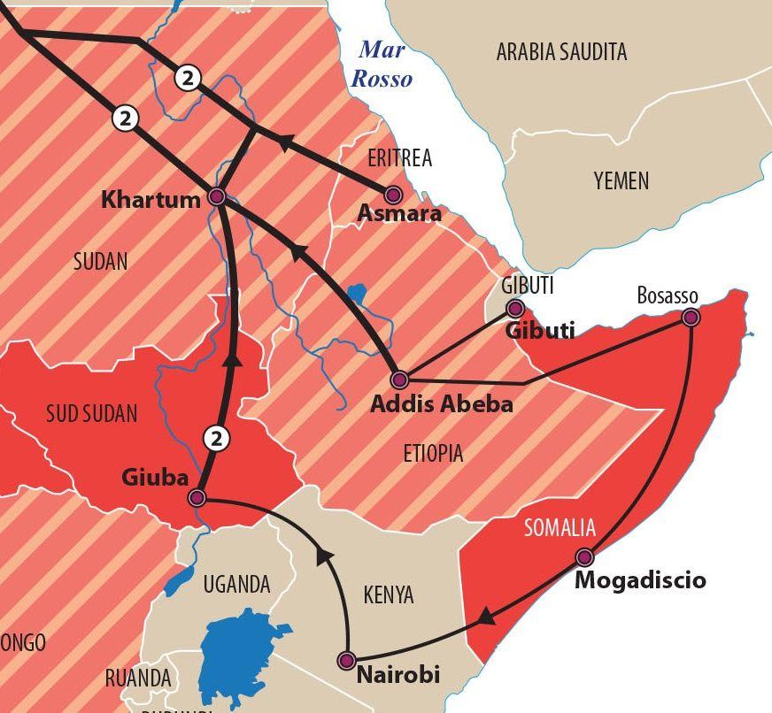 Le principali rotte delle migrazioni_dettaglio_etiopia_gibuti