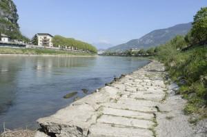 Fiume Adige con portata minima