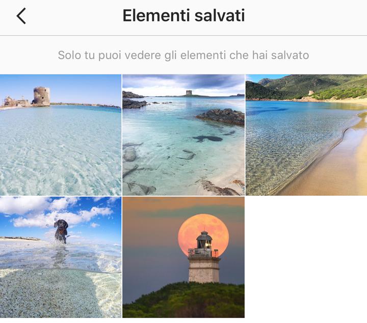 La pagina degli elementi salvati