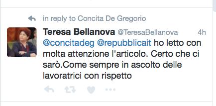 La risposta del viceministro allo Sviluppo Economico Teresa Bellanova