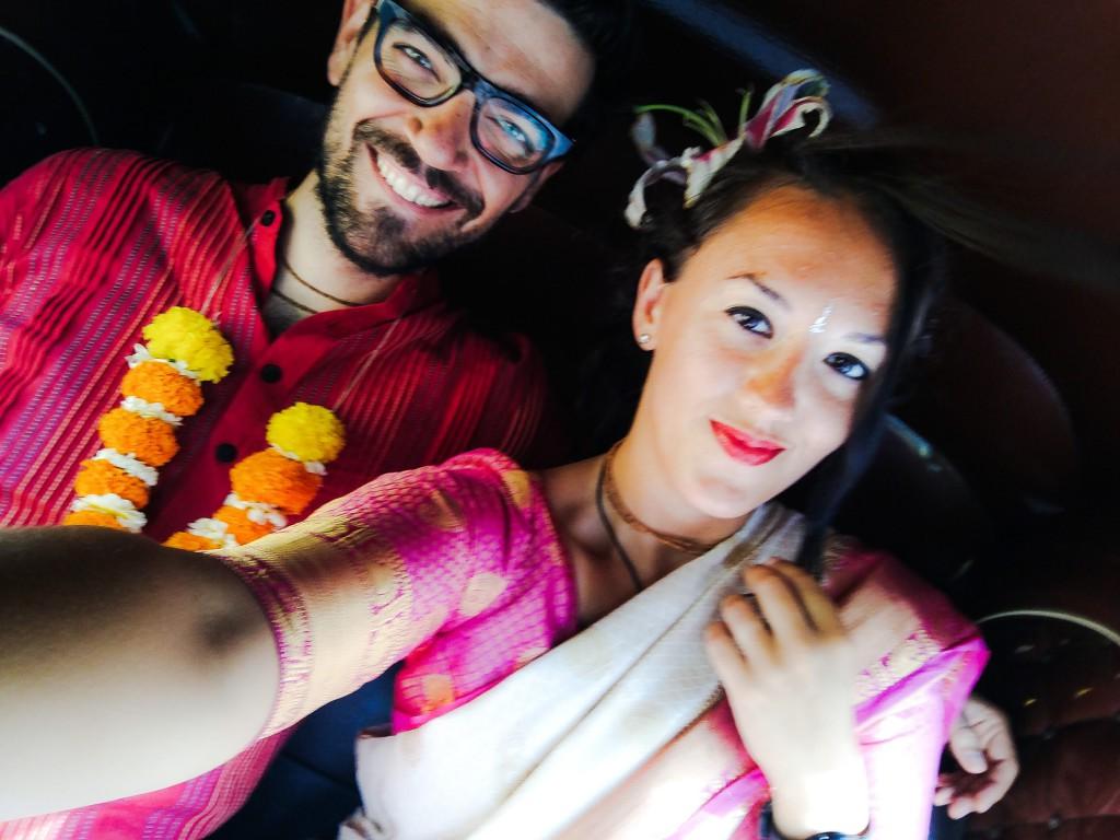 Arianna e Riccardo il giorno del loro matrimonio in India