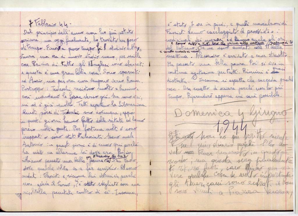 La pagina di diario con l'inizio del racconto del 4 giugno 1944