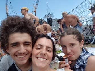 Valentina con i figli Gabriella e Luciano