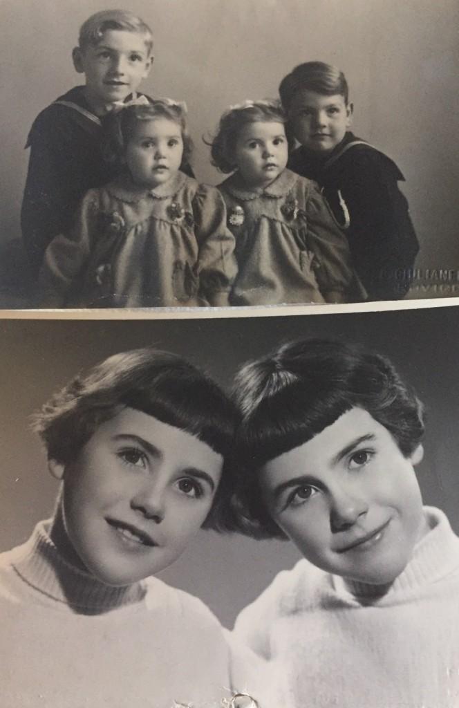 In alto: 1948, Patata e Pelo rosso con dietro i fratelli Giuliano e Tonino; sotto, 1954, Margherita e Luciana