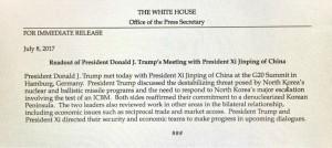 Il comunicato della Casa Bianca con i'errore