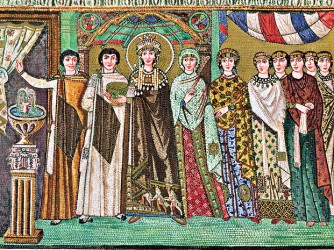 Byzantine mosaic: empress Theodora and a train of court ladies.
