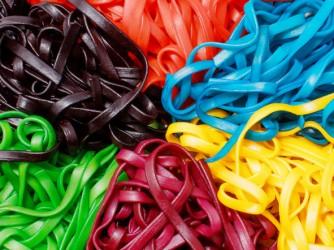 multicolored pasta close-up