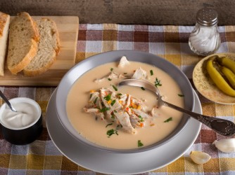 Romanian chicken soup named Ciorba Radauteana